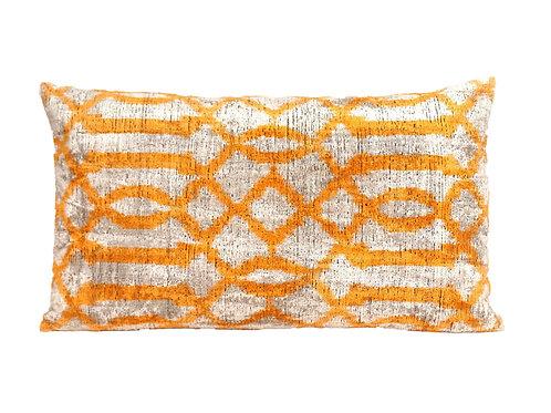 Anzac White Ikat Silk/Velvet Lumbar