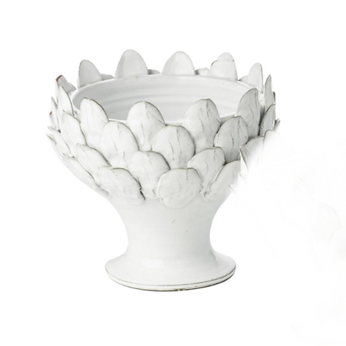 White Artichoke Footed Bowl