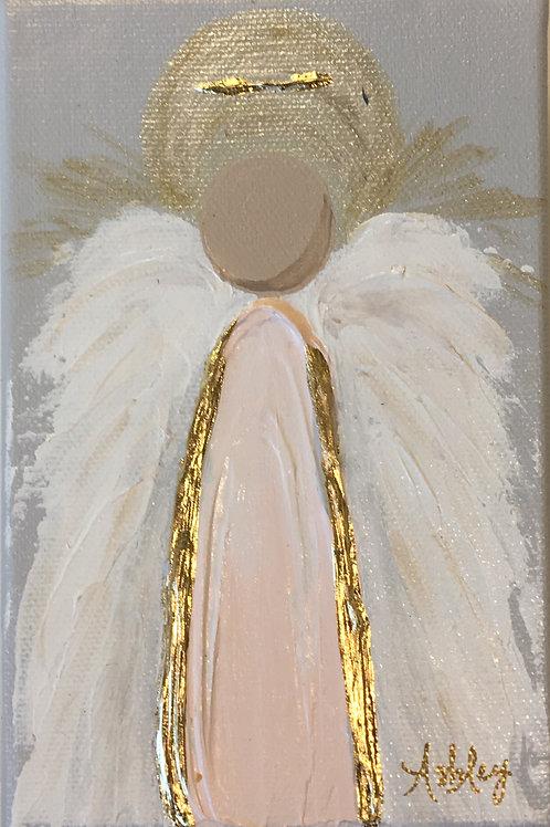 Acrylic Angel on Canvas - 4 x 6 - Pink