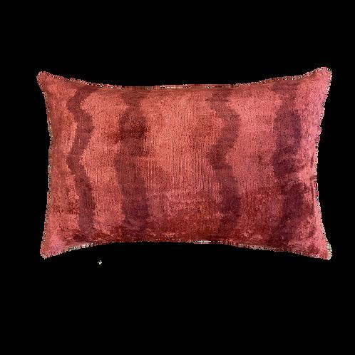 Scarlet Stripe Ikat Silk/Velvet Lumbar