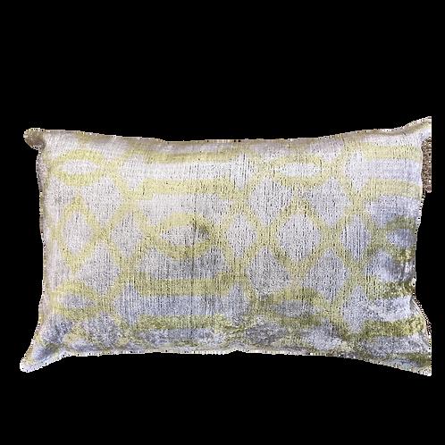 Citron Ikat Silk/Velvet Lumbar