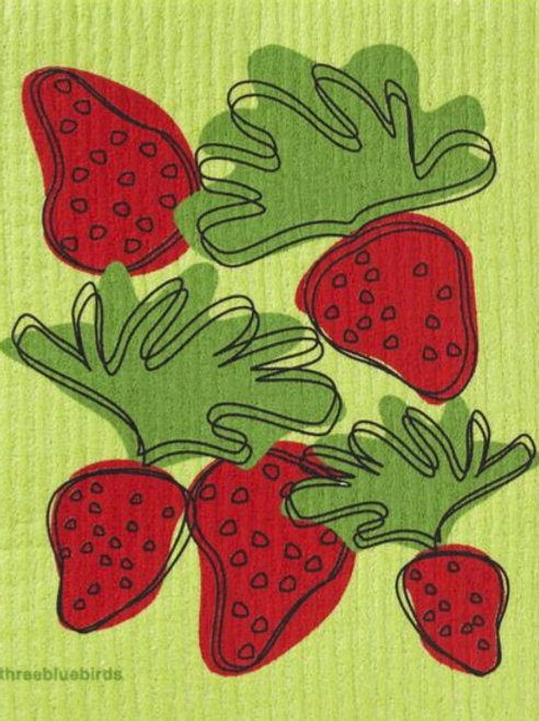 Swedish Dish Cloth - Strawberries