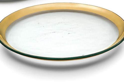 "Annieglass Roman Antique 12"" Buffet Plate Gold"