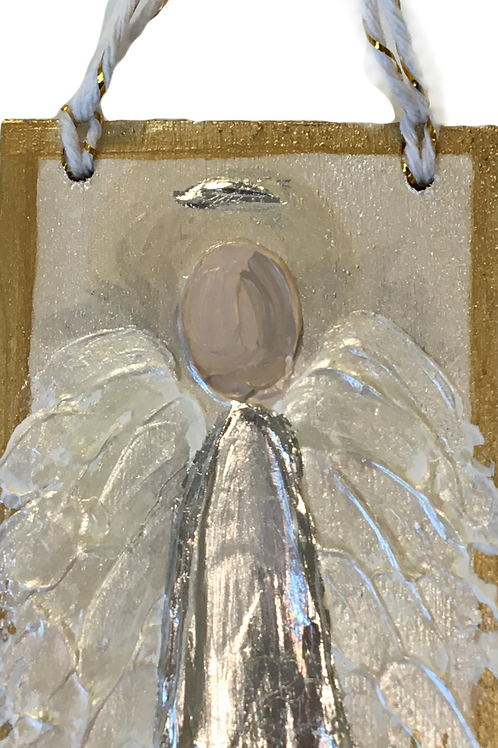 Acrylic Angel Ornament on Wood - Silver