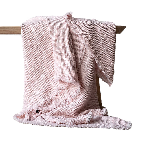 Rosa Washed Waffle Linen Throw w/ Fringes