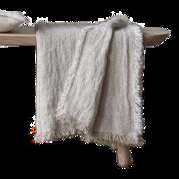 Oatmeal Linen Throw Rustico w/ Fringe