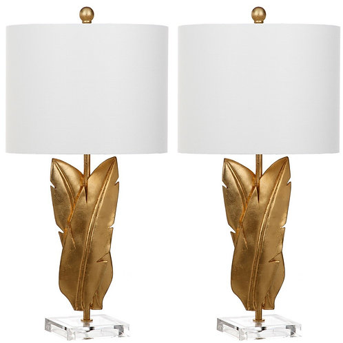 Gold Leaves Table Lamp Set