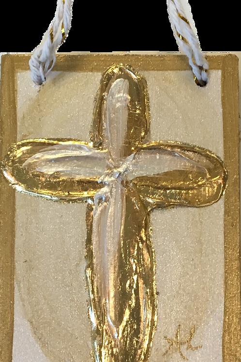 Acrylic Cross Ornament on Wood