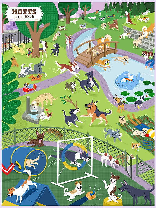 Mutts in the Park Puzzle - 500 pcs