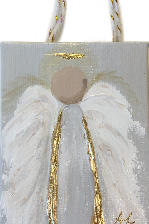 Acrylic Angel Ornament on Canvas - White