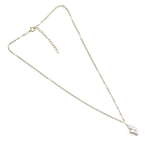 Pearl Cross Necklace, Gold