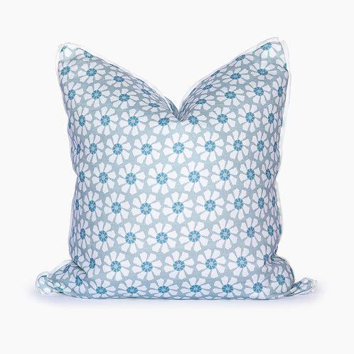 Georgia Floral Square Pillow - Cerulean