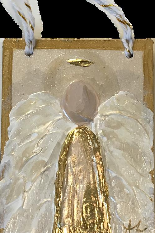 Acrylic Angel Ornament on Wood - Gold