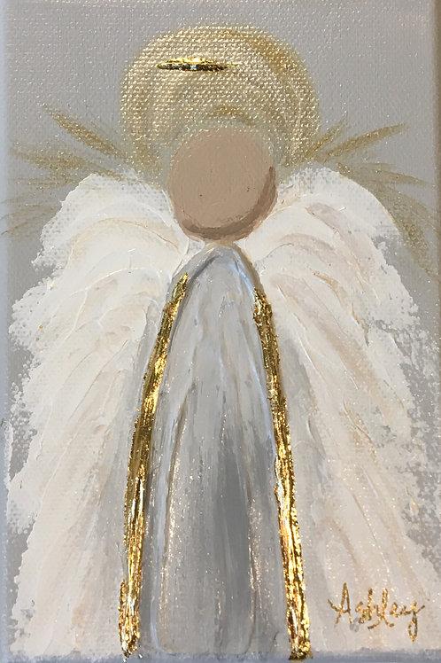 Acrylic Angel on Canvas - 4 x 6 - White