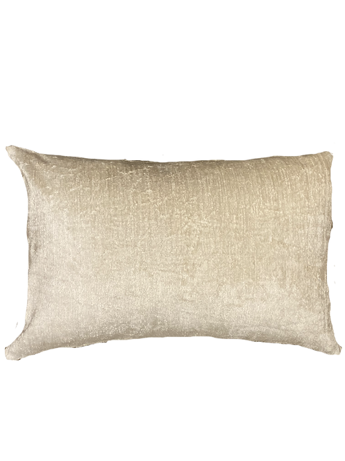 Cream Ikat Silk/Velvet Lumbar