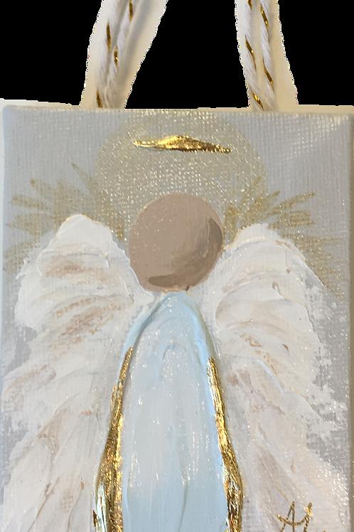 Acrylic Angel Ornament on Canvas - Blue
