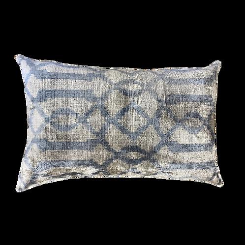 Blue Grey Ikat Silk/Velvet Lumbar