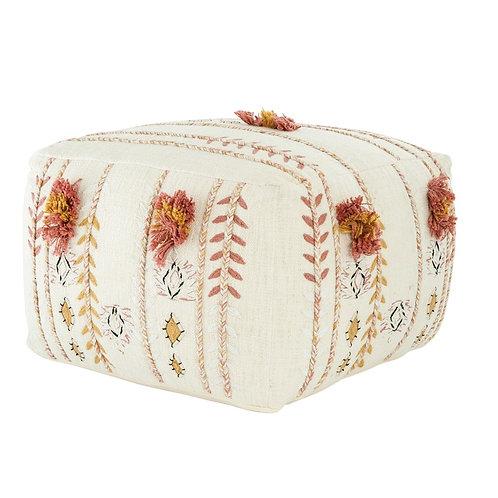 Cotton Embroidered Pouf w/ Fringe - Cream
