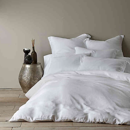 Washed Linen Duvet Cover - White