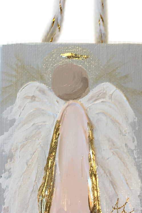 Acrylic Angel Ornament on Canvas - Pink