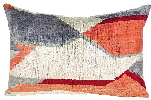 Modern Mirage Ikat Silk/Velvet Lumbar