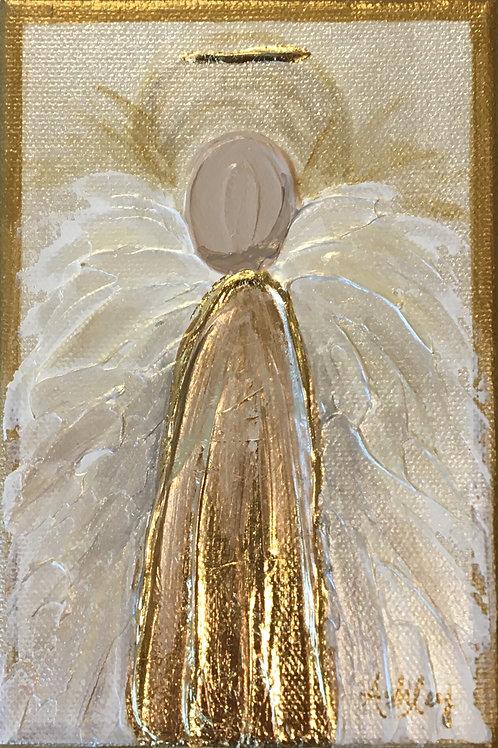 Acrylic Angel on Canvas - 4 x 6 - Gold