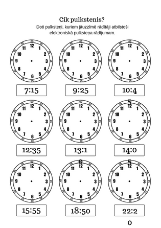 """Uzdevumu lapa """"Cik pulkstenis?"""""""