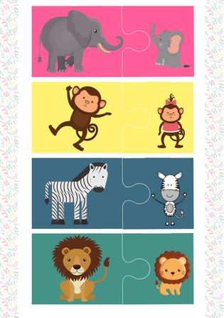 """Puzzle """"Mamma +bērniņš"""". Zoodārzs"""