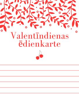 Valentīndienas ēdienkarte