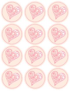 Kūku/salmiņu dekori Valentīndienai