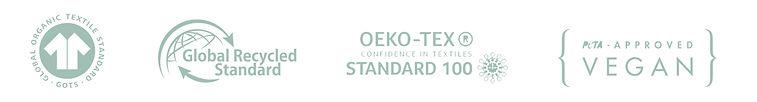 certificação GOTS, Global Recycled Standard, OEKO-TEX e PETA