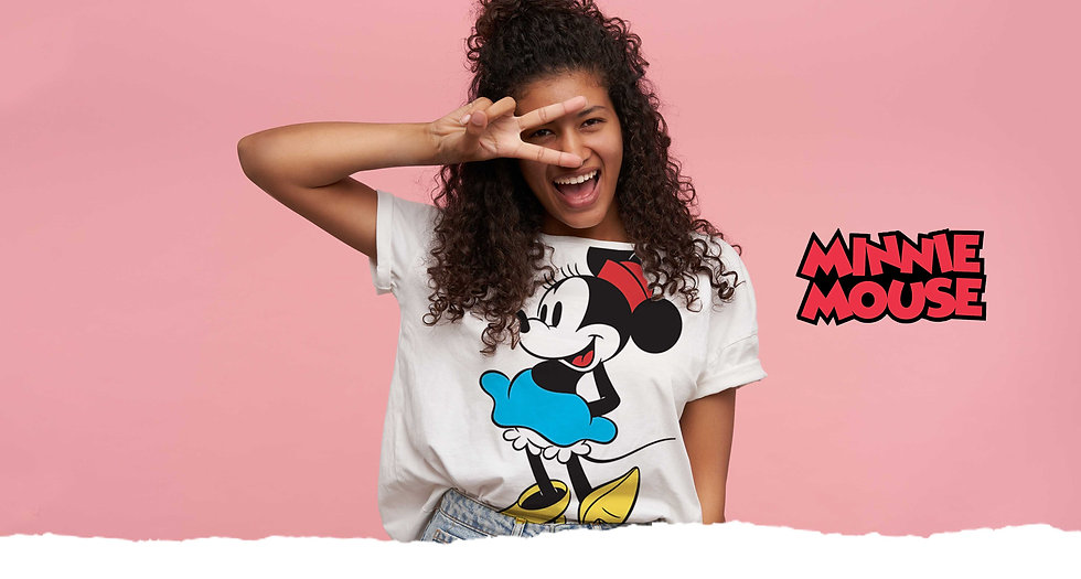 t-shirt branca da minnie mouse para senhora