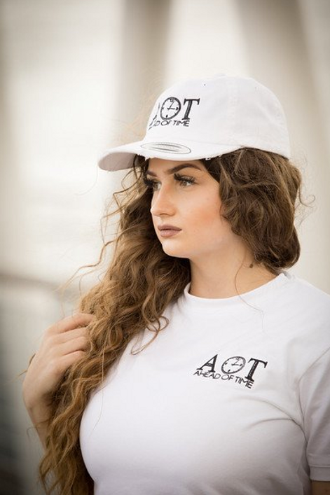 Ahead Of Time - White Distressed Dad Cap