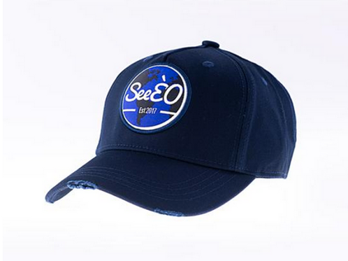 SeeÈO - Navy Distressed Baseball Cap