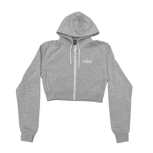 Coldest - Ladies Grey Cropped Hoodie