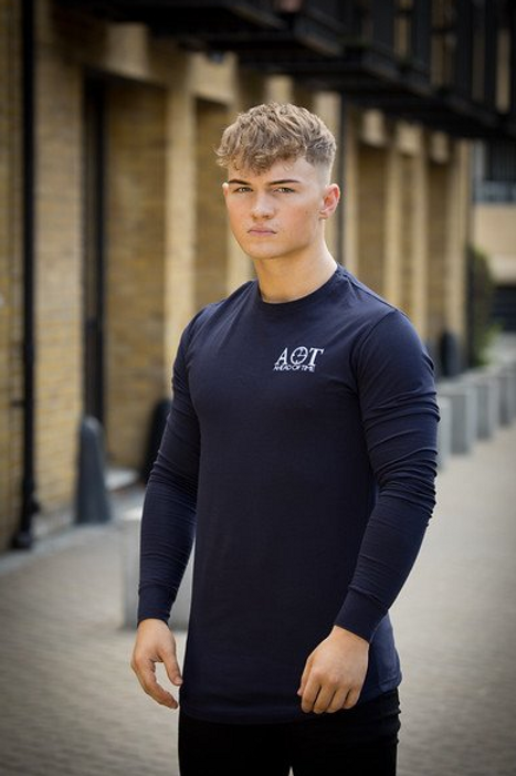 Ahead Of Time - Navy Fitted Long-sleeved T-shirts