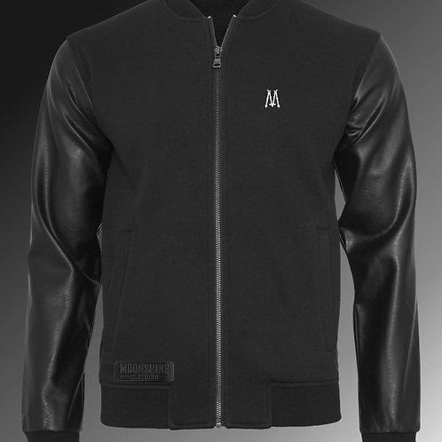 Moonshine - Zip Up Leather Sleeve Sweatshirt