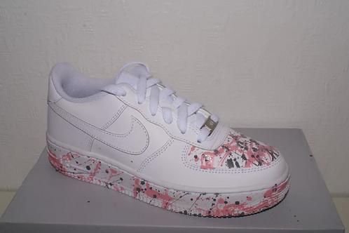 Chop City - Junior Pink & Grey Splash Air Force 1