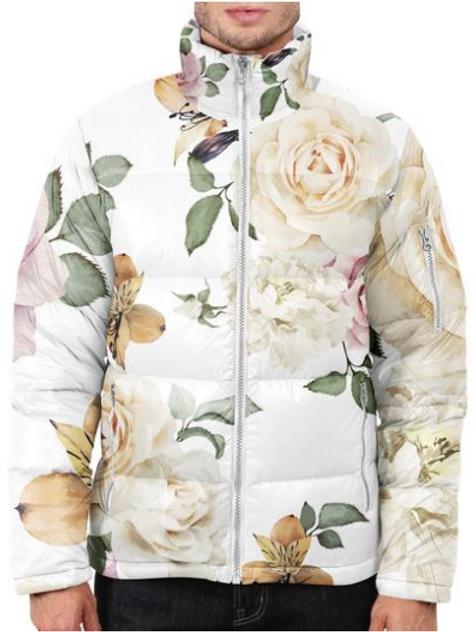 I Am Dope - White Roses Puffer Jacket
