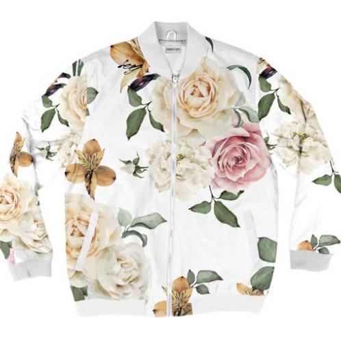 I Am Dope - White Roses Bomber Jacket