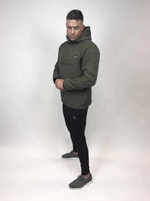 Tremor Apparel - Half Zip Padded Pullover Jacket Olive