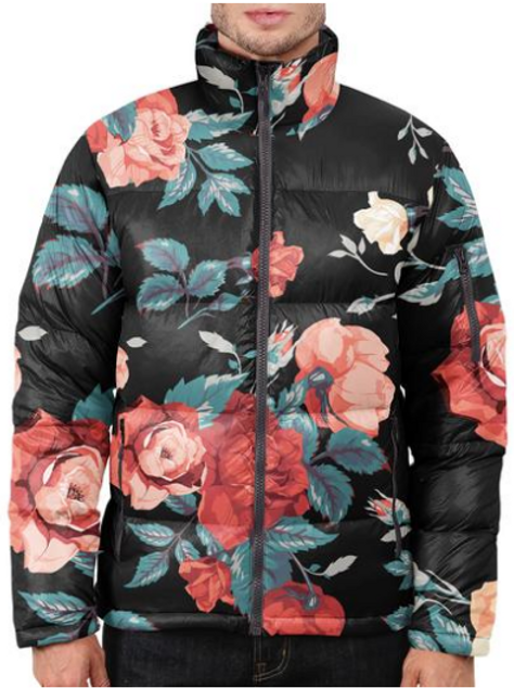 I Am Dope - Seamless Floral Puffer Jacket