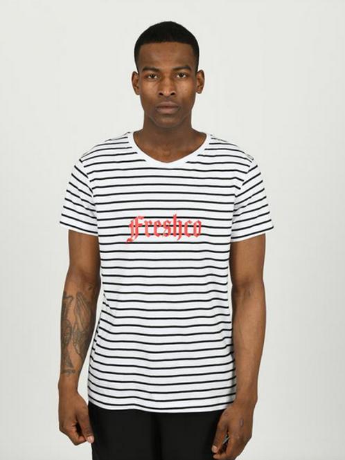 Youngfreshco - Black/White Stripe Brand Carrier T Shirt