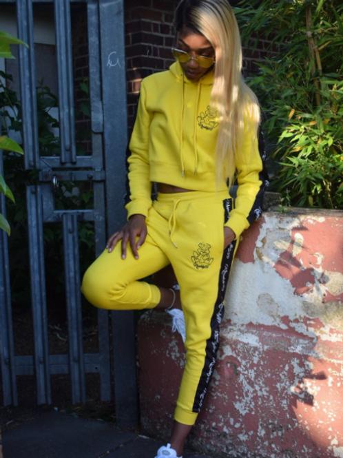 Kruddy99 - Ladies Crop Hoodie Tracksuit - Yellow