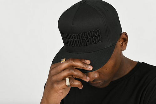 Youngfreshco - Black Signature Text Snapback Hat