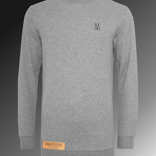 Moonshine - Grey Long Line Zip Sweatshirt