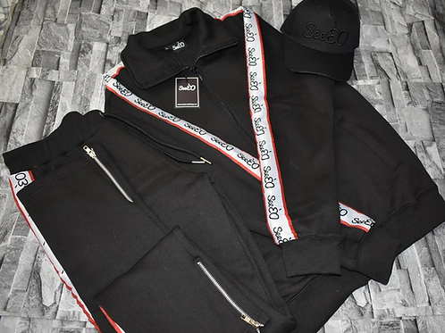 SeeÈO - Full Black SeeÈO Taped Tracksuit