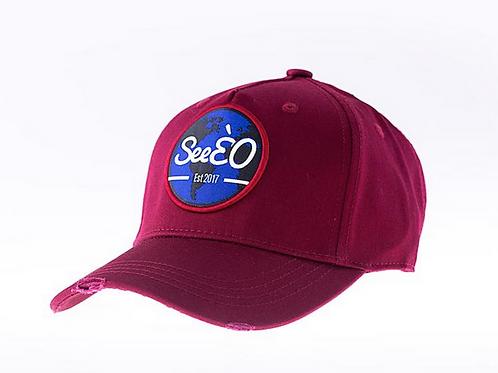 SeeÈO - Burgundy Distressed Baseball Cap