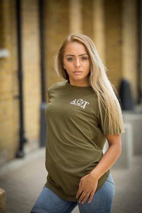 Ahead Of Time - Olive Green Fitted T-shirts