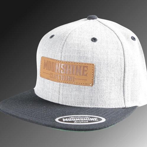 Moonshine - Grey / Black Snapback / Leather Patch